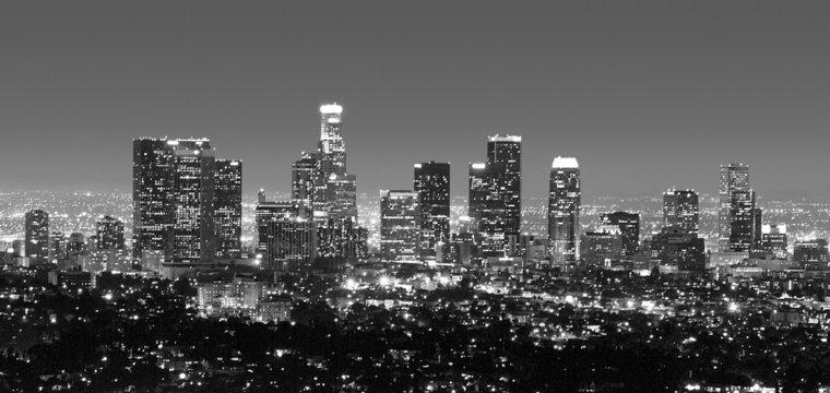los angeles skyline at night in black & white