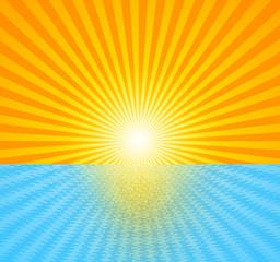 the hot summer sun above the ocean