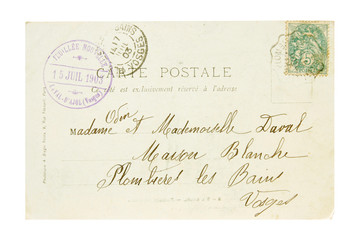 1903 stamp and postcard from france
