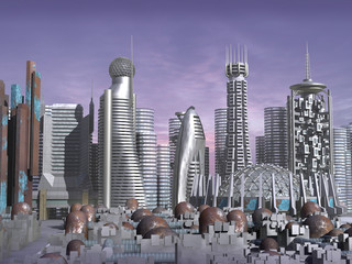 3d model of sci-fi city with futuristic skyscraper