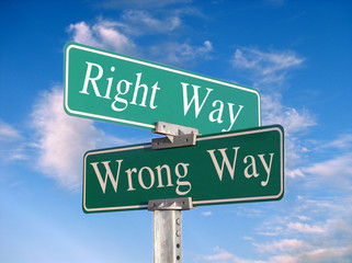 """street sign that reads """"right way, wrong way"""""""