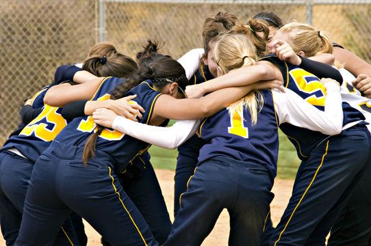 team huddle in color