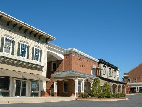 suburban shopping center under construction