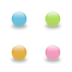 Glas Bälle Button Bunt
