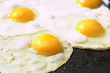 eggs on a frying pan