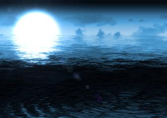 moon night seaccape