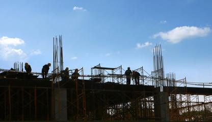scaffold under the blue sky