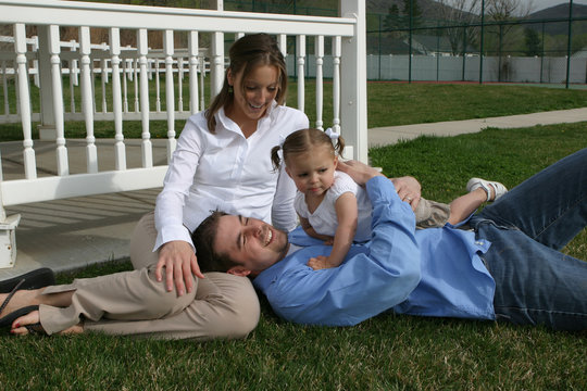 young family on grass