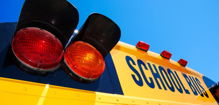 close - up of yellow school bus