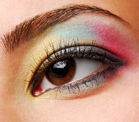 yellow-blue-red eyeshadows