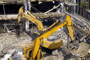 excavators on building site