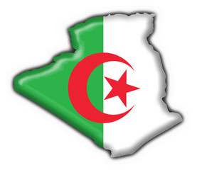 Poster Algérie bottone cartina algerina - algeria button map flag