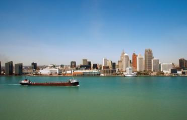 panoramic view of detroit skyline
