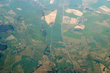 aerial view - roads, fields and villages
