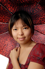 young model with red spotty umbrella