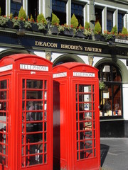 2 red phone booths