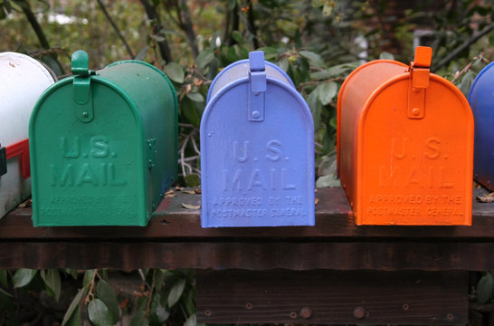colorful mailbox trio