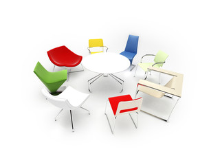 chairs with different colors and shapes