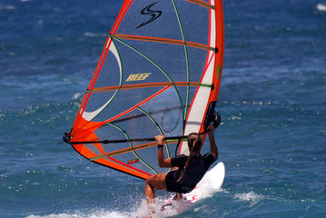 female windsurfer