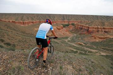 mountain biker downhill to canyon temirlik
