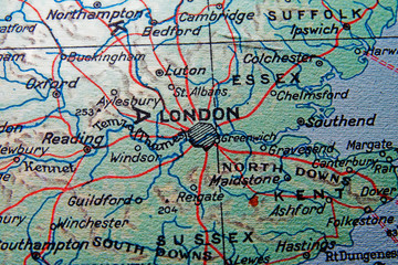 england map with london