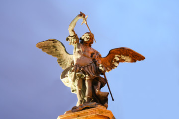 Low angle view of an angel statue
