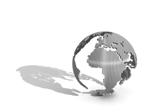 3d globe on a white background