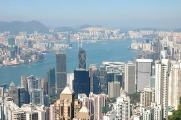 Foto auf Gartenposter Hongkong hong kong skyline