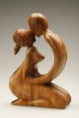wooden statue of lovers