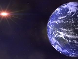 planete terre et son soleil
