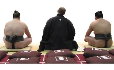 sumo wrestlers sitting