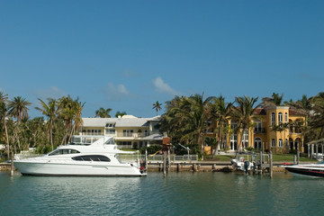 mansion with white boat