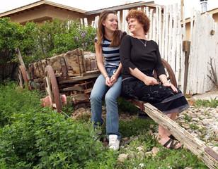 mother & daughter in the garden