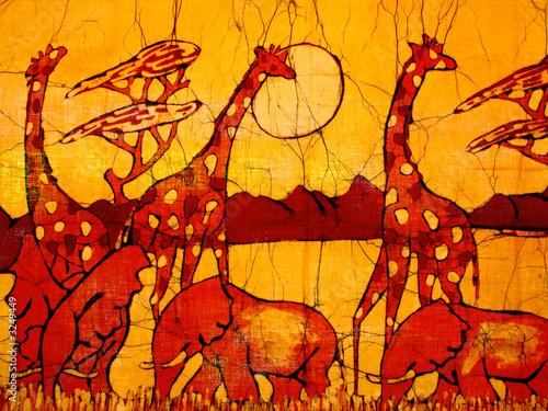 African art batik wall decoration with giraffes and elephants ...