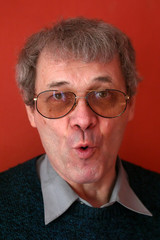 middle-aged man with funny face