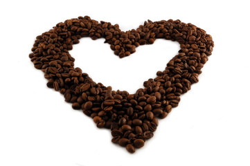 heart of coffee beans.