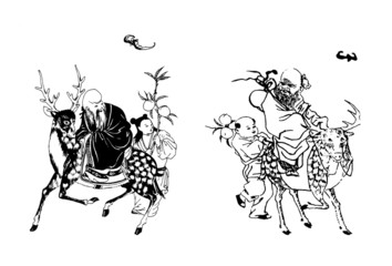 the illustration of chinese traditional god of lon