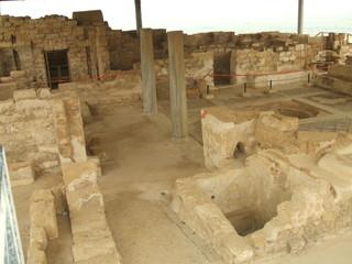 interior of ancient rooms in caesarea in israel.