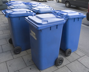 blue plastic recycling wheelie bin