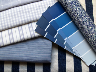 blue & white interior design planning