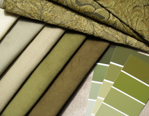 green & beige interior design planning