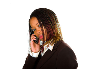business lady cell phone talking