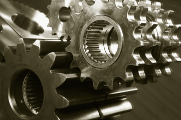 mechanical gear concept in brown