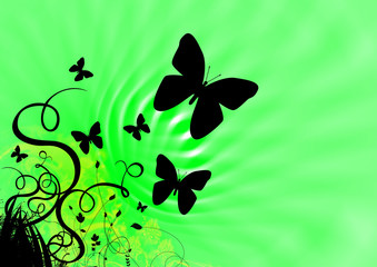 abstract floral and butterfly illustration