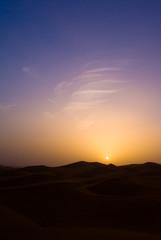 sunset in the desert of merzouga, er chebbi