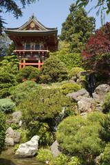 temple gate, and bushes portrait