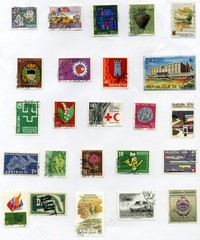 vintage world postage stamp ephemera (editorial)