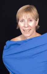 woman in blue sheet