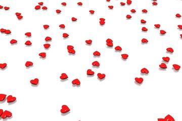 petits coeurs rouges sur fond blanc