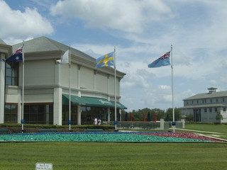 building and flags